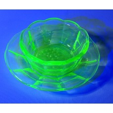 Uranium Glass Dessert Set