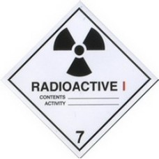Category I White Radiation Warning Sticker