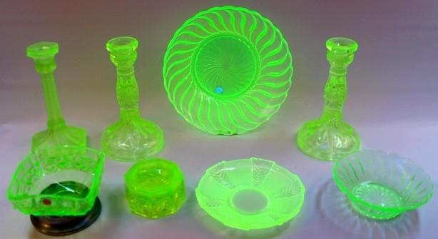 Green Vaseline Uranium Depression Glass